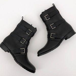 REBECCA MINKOFF Malla Too Moto Buckle Boots Black